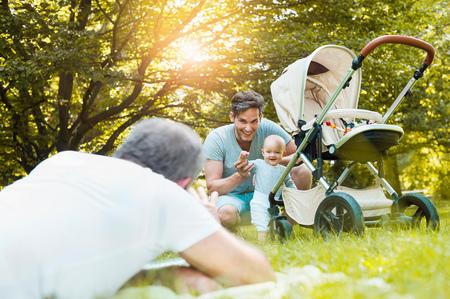 Three generation family in park