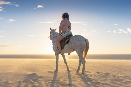 Woman riding horse on beach, rear view, Jericoacoara, Ceara, Brazil, South America