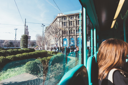 Cropped view of woman on bus, Milan, Lombardy, Italy, Europe LANG_EVOIMAGES