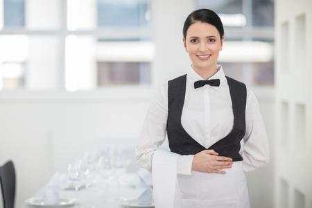 Portrait of waitress in restaurant
