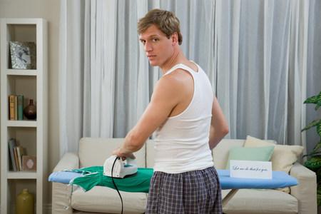 A man ironing