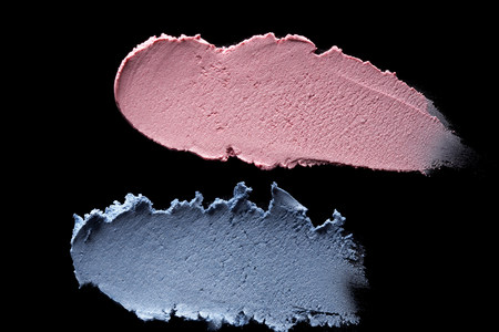 Smeared blue and pink eyeshadow