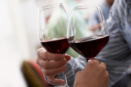 Couple toasting with red wine LANG_EVOIMAGES
