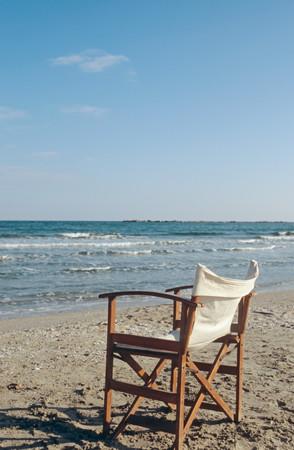Deckchair near sea