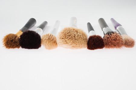 Seven make-up brushes