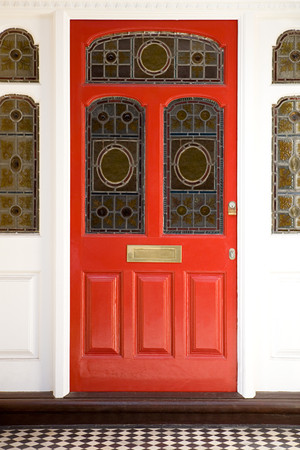 Front door with stained glass windows