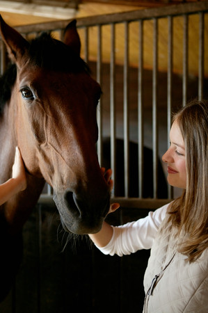 Young woman stroking horses face LANG_EVOIMAGES
