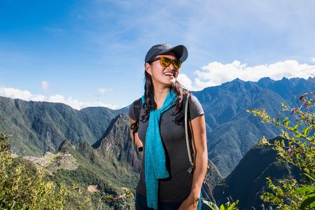 Woman on the Inca Trail close to Machu Picchu, Cusco, Peru