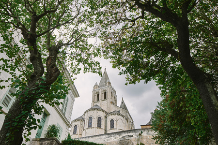 Low angle view of Collegiale Saint Ours, Loches, Loire Valley, France LANG_EVOIMAGES