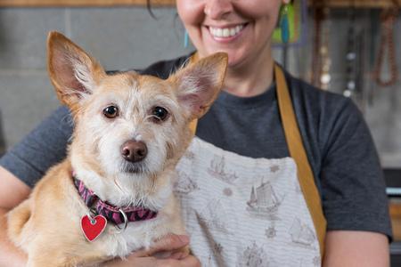 Jewellery maker holding pet dog, in workshop, mid section LANG_EVOIMAGES