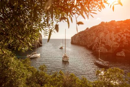 Yachts anchored in bay, Mahon, Menorca, Spain LANG_EVOIMAGES