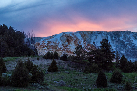 Mammoth Hot springs at sunset, Yellowstone National Park, Wisconsin, United States, North America