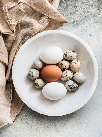 Variety of birds eggs in a bowl, overhead view LANG_EVOIMAGES