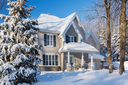 Snow covered house, Quebec, Canada