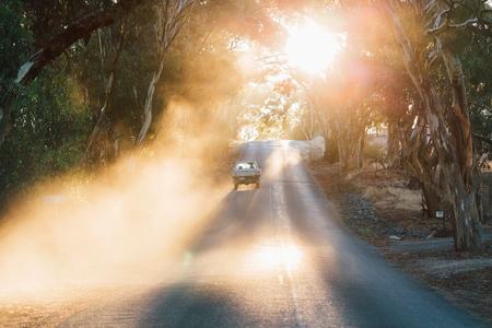 Car travelling on road, Sevenhill, Clare Valley, South Australia, Australia
