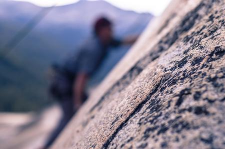 Rock climber rock climbing, Yosemite National Park, United States