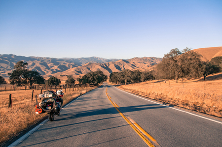 Motorcycle on open road, Yosemite National Park, United States