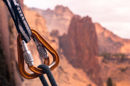Close up of carabiners, Smith Rock State Park, Terrebonne, Oregon, United States