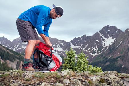 Hiker taking break,Mount Sneffels,Ouray,Colorado,USA