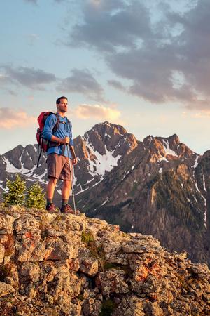 Hiker on mountain peak,Mount Sneffels,Ouray,Colorado,USA
