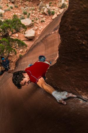 Man trad climbing,Indian Creek,Moab,Utah,USA