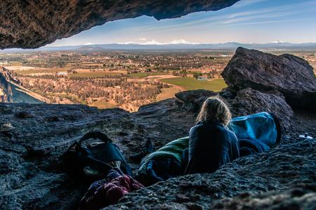 Rock climber on summit,Smith Rock State Park,Oregon,USA