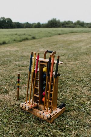 Croquet equipment set trolley on lawn