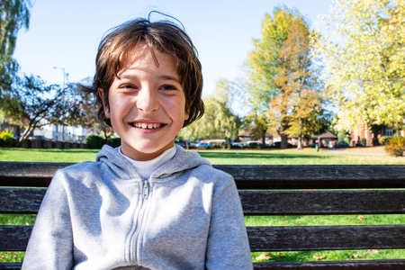 Smiling boy in park