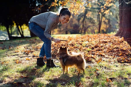 Woman with pet dog in park LANG_EVOIMAGES