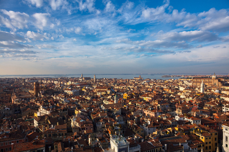 Cityscape from St Marks Tower, high angle view, Venice, Veneto, Italy