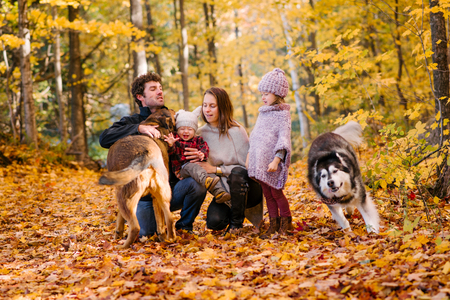 Family of four and dogs in forest