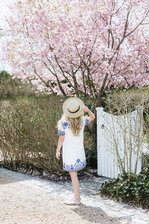 Young woman in straw boater in front of pink tree blossom, rear view, Menemsha, Marthas Vineyard, Massachusetts, USA