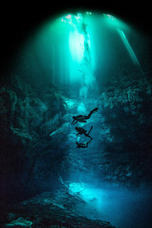 Cenote diving, Pit Cenote, Tulum, Quintana Roo, Mexico LANG_EVOIMAGES