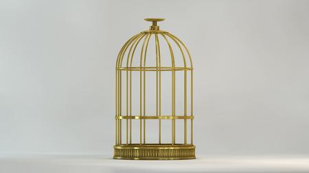 흰색 배경에 전면보기 케이지 금 금속 빈티지 스타일 개념 자유의 자유 감옥 및 개념 기호
