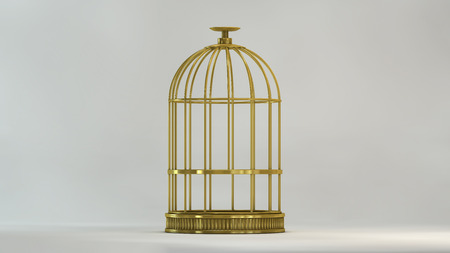 Cage gold in front view on white background metal vintage style concept symbol of freedom prison and release