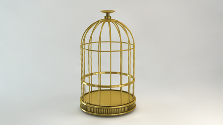 Cage gold on white background metal vintage style concept symbol of freedom prison Stock Photo