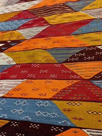 old colored mat, woven texture background, colorful traditional textile mediterranean. Imagens