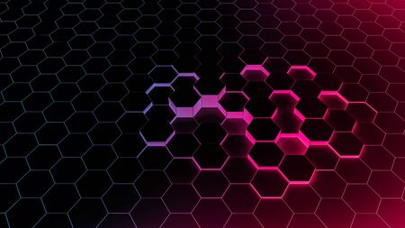 Abstract background hexagon blue of futuristic surface with light rays and shadows. fluorescent background for tech