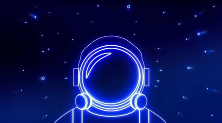 Astronaut helmet neon icon with light stars. Elements of Space set. Simple icon for websites, web design, mobile app, info graphics. 3d rendering - illustration.