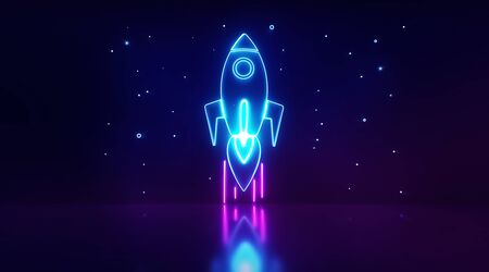 Startup digital neon light, rocket launch and stars light with background dark. Business or project startup banner concept. Flat style illustration with space for text. 3d rendering - illustration.