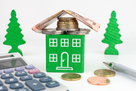 A green home with Euro money for the roof, representing savings to be made with an energy efficient home