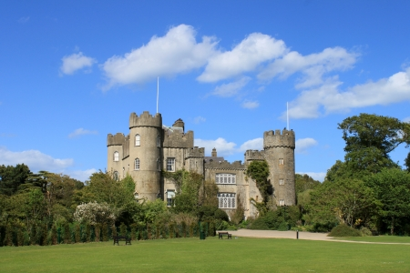 turrets: A view of Malahide Castle showing three turrets