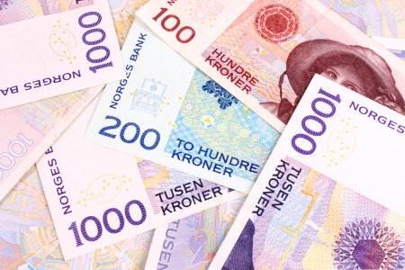 A closeup of Norwegain currency bank notes