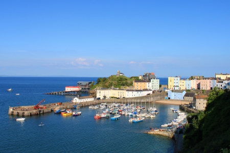 tenby wales: The beautiful seaside town of Tenby and its Harbour, Pembrokeshire in Wales