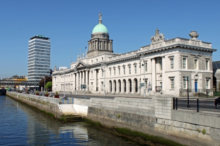 Dublin city's iconic 18th century, Custom House and River Liffey.