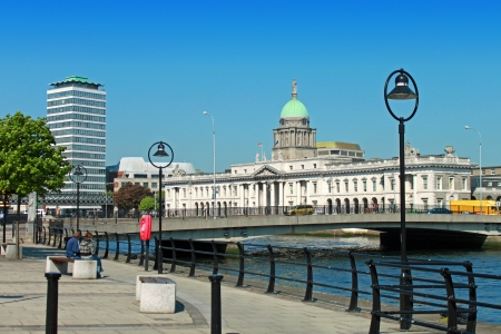 liffey: A view of Dublins famous Custom House, Liberty Hall and the river Liffey.