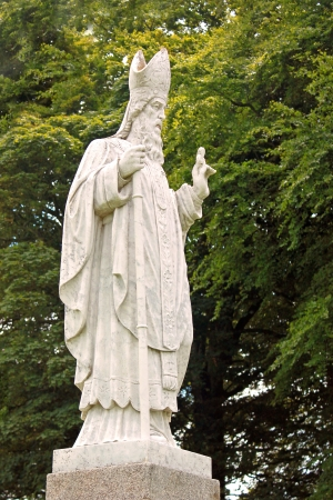 tara: A statue of Saint Patrick at the hill of Tara in Ireland  Stock Photo