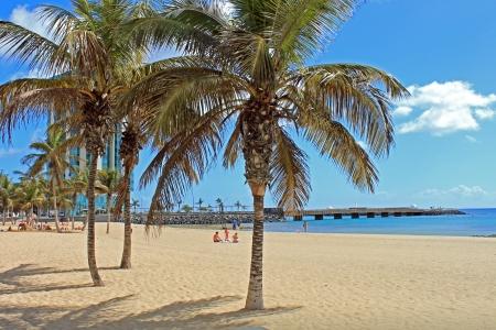 La bellissima spiaggia alla città di Arrecife alle Isole Canarie Archivio Fotografico - 24598249