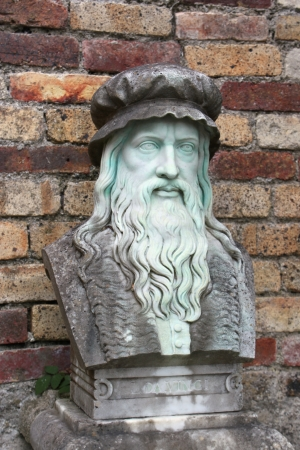 A marble carving of the inventor and painter, Leonardo Da Vinci  Stock Photo