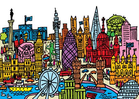 buckingham palace: A hand drawn cartoon style illustration of London City, England